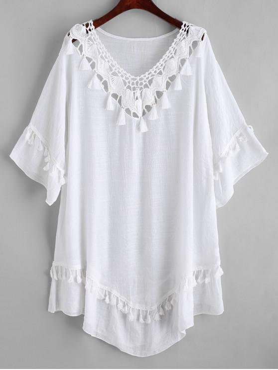 shop Crochet Panel Tassels Beach Dress - WHITE ONE SIZE