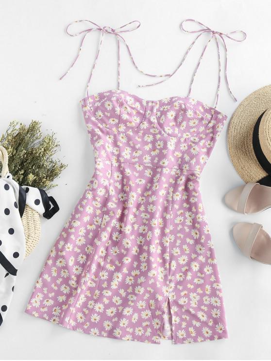 latest ZAFUL Floral Tie Shoulder Slit Cami Dress - MAUVE S