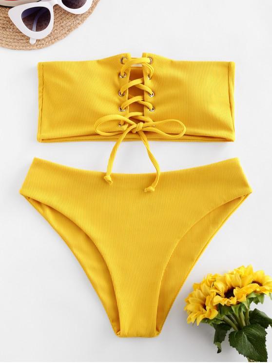 Costume da Bagno Bikini a Fascia a Costine con Lacci di ZAFUL - Giallo S