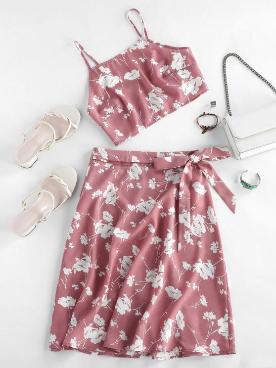 chic ZAFUL Flower Print Cami Tie Two Piece Skirt Set - PINK ROSE S
