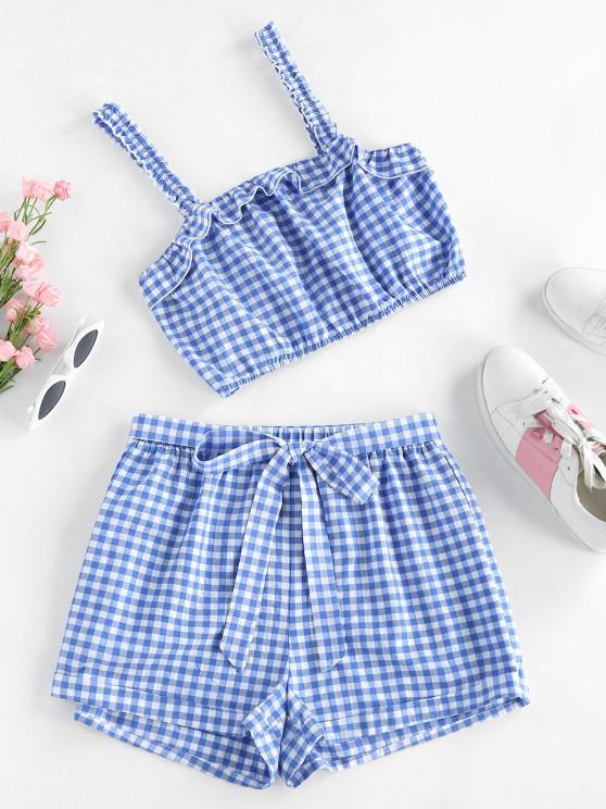 lady ZAFUL Gingham Ruffle Belted Cuffed Shorts Set - DAY SKY BLUE XL