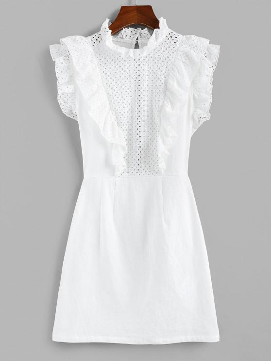 ZAFUL Eyelet Ruffle Neck Mini Dress - أبيض S