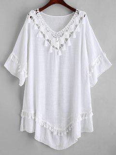 Crochet Panel Tassels Beach Dress - White