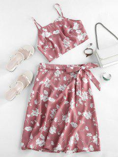 ZAFUL Flower Print Cami Tie Two Piece Skirt Set - Pink Rose S