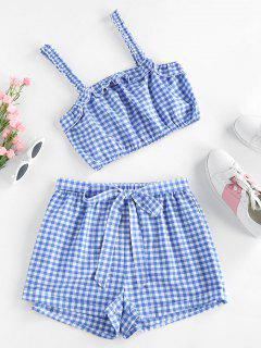 ZAFUL Gingham Ruffle Belted Cuffed Shorts Set - Day Sky Blue S
