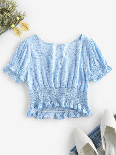 ZAFUL Ditsy Print Smocked Ruffle Crop Blouse - Light Sky Blue S