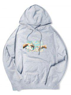 Helping Hands Graphic Front Pocket Lounge Hoodie - Gray Xl