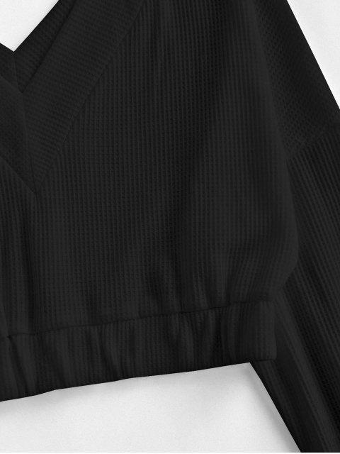 T-shirt Court Manches Lanternes à Col V - Noir XL Mobile