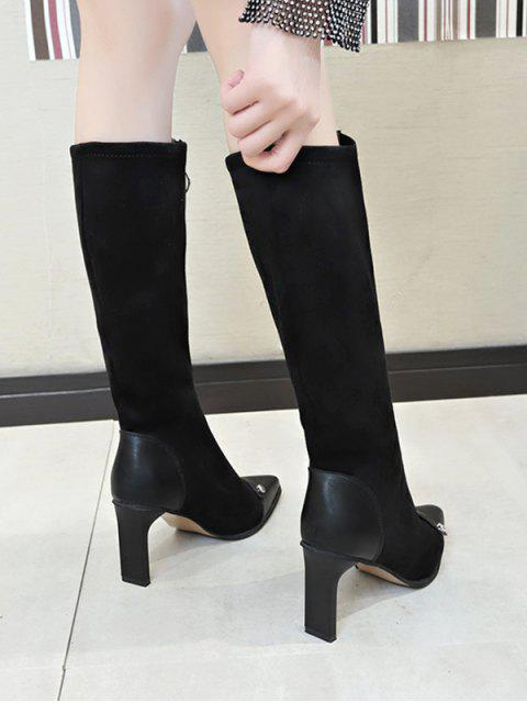 online O-ring Zip High Heel Pointed Toe Boots - BLACK EU 38 Mobile