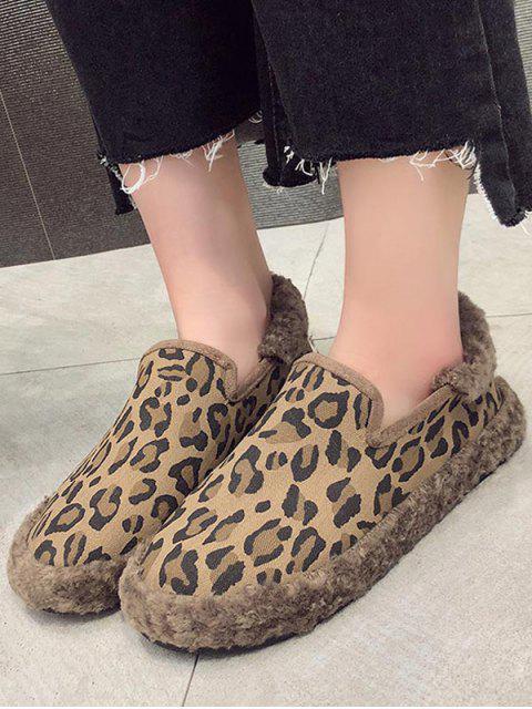 Chaussures Plates Fourrées Léopard Imprimé - Kaki EU 37 Mobile