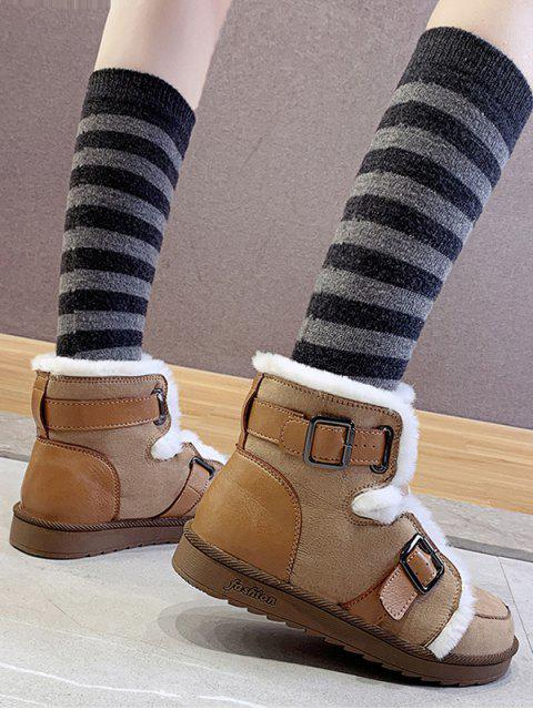 fancy Dual Buckle Ankle Snow Boots - BROWN EU 36 Mobile