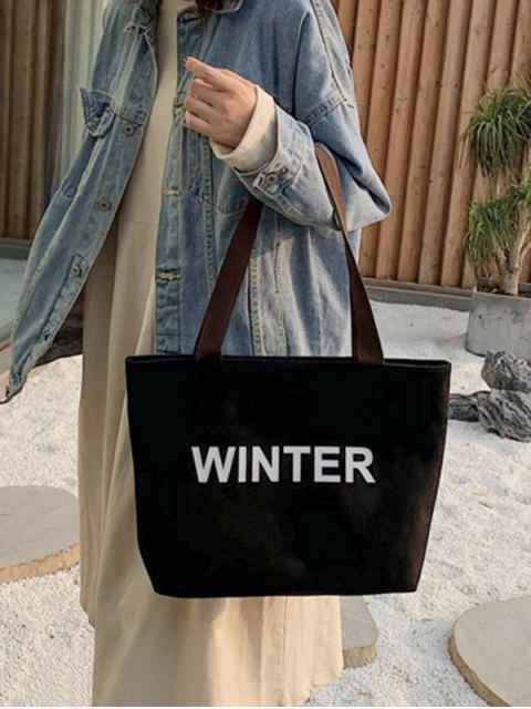Зимняя Сумка через плечо С большой емкостью Холст Графический принт - Чёрный  Mobile