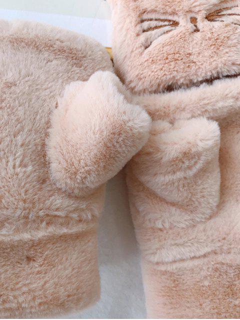 Gants Chat en Fausse Fourrure Sans Doigt - Abricot  Mobile