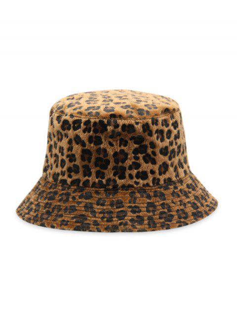 fancy Leopard Faux Fur Bucket Hat - BROWN  Mobile