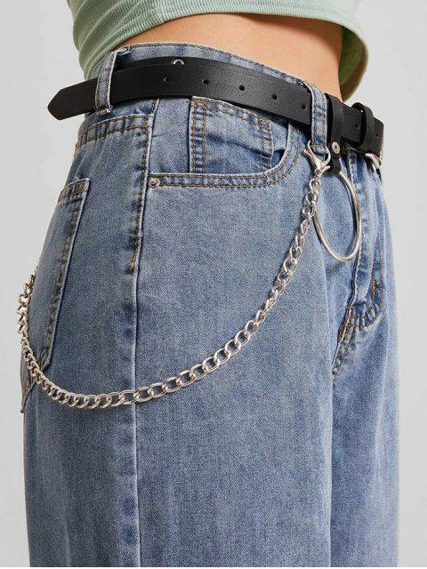 sale Ring Chain Pin Buckle Belt - BLACK  Mobile