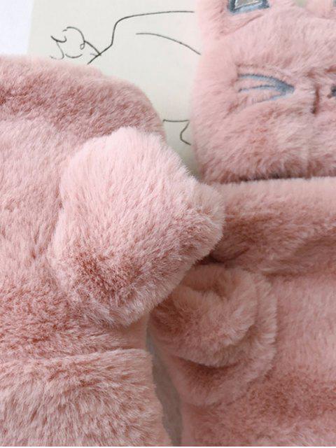 Перчатки Из искусственного меха Узор кошки - Розовый  Mobile