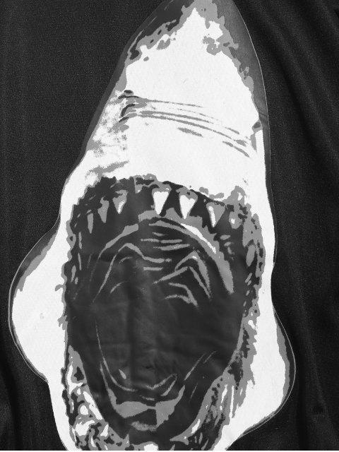 鯊魚嘴打印休閒套衫運動衫 - 黑色 M Mobile
