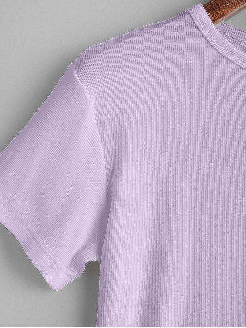 women's ZAFUL Plain Cropped Tee - MAUVE S Mobile