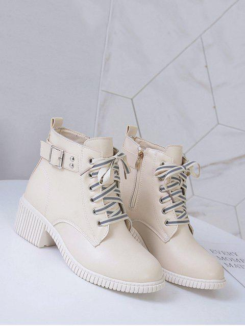 new Buckled Lace Up Leather Cargo Boots - WHITE EU 39 Mobile
