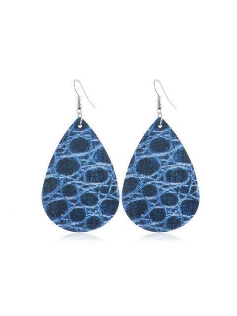 Форма капли воды Кожаные Серьги - Синий  Mobile