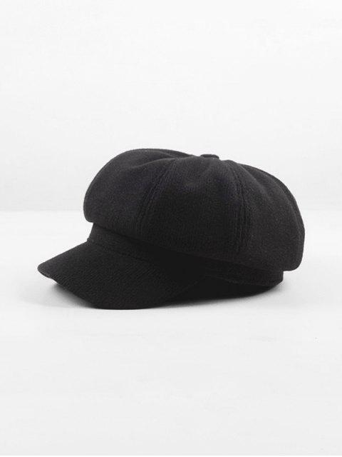 affordable Peaked Octagonal Beret Solid Hat - BLACK  Mobile