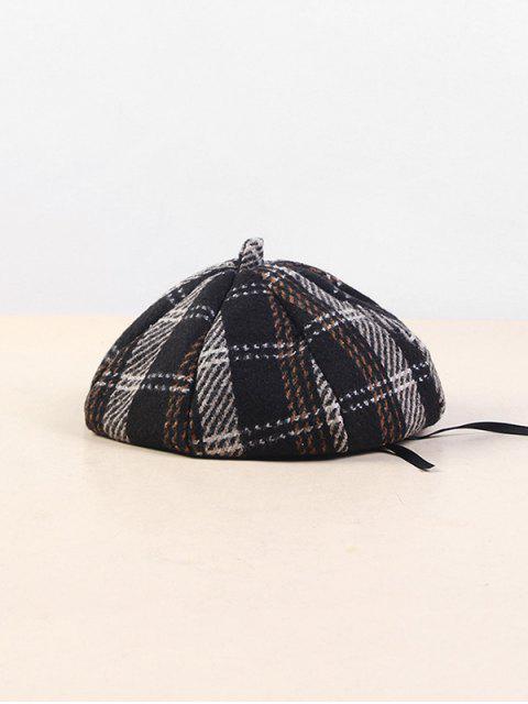 buy Plaid Cotton Beret Hat - BLACK  Mobile