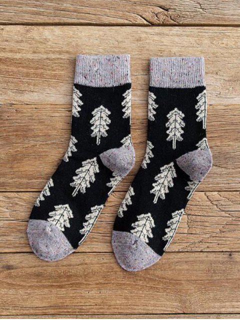 fancy Christmas Tree Pattern Confetti Socks - JET BLACK  Mobile