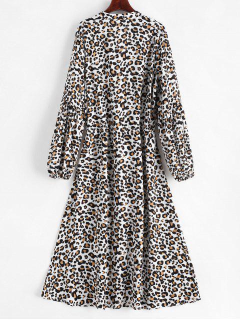 Robe Léopard Imprimé à Demi-Bouton à Cordon - Multi-A XL Mobile
