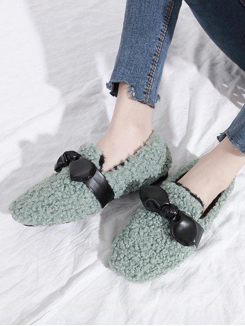 Chaussures Plates en Fausse Fourrure Embellies de Nœud Papillon - Vert Mer EU 35 Mobile