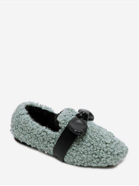 Chaussures Plates en Fausse Fourrure Embellies de Nœud Papillon - Vert Mer EU 43 Mobile