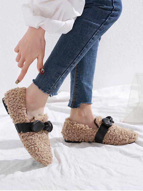 Chaussures Plates en Fausse Fourrure Embellies de Nœud Papillon - Kaki Léger EU 36 Mobile