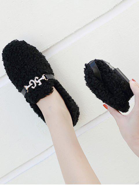 Chaussures Plates Intelligent Ornées de Nombre en Strass et Pierres Fantaisies - Noir EU 35 Mobile