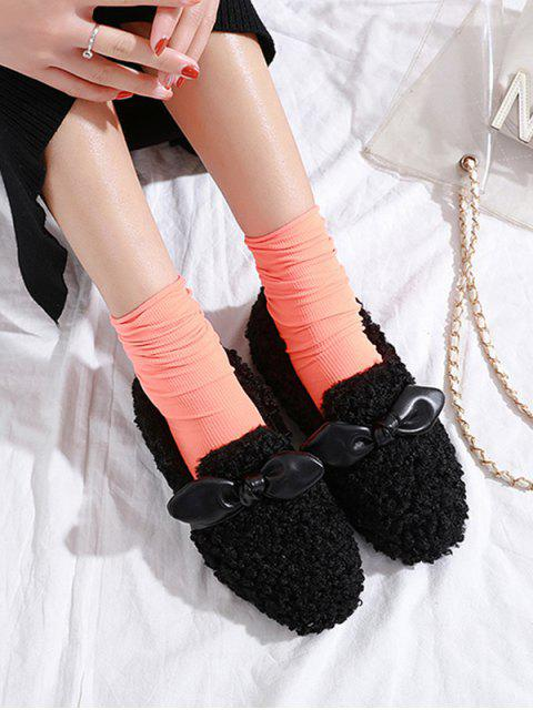 Chaussures Plates en Fausse Fourrure Embellies de Nœud Papillon - Noir EU 35 Mobile
