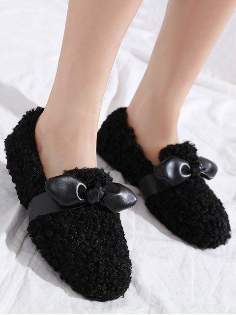 Chaussures Plates en Fausse Fourrure Embellies de Nœud Papillon - Noir EU 37 Mobile