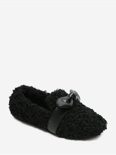 Chaussures Plates en Fausse Fourrure Embellies de Nœud Papillon - Noir EU 38 Mobile