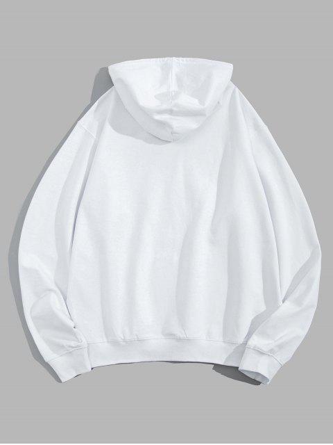 這是生命的圖形袋鼠口袋抽繩連帽外套 - 白色 L Mobile