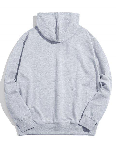熊貓油墨印刷前袋抽繩連帽外套 - 淺灰 M Mobile