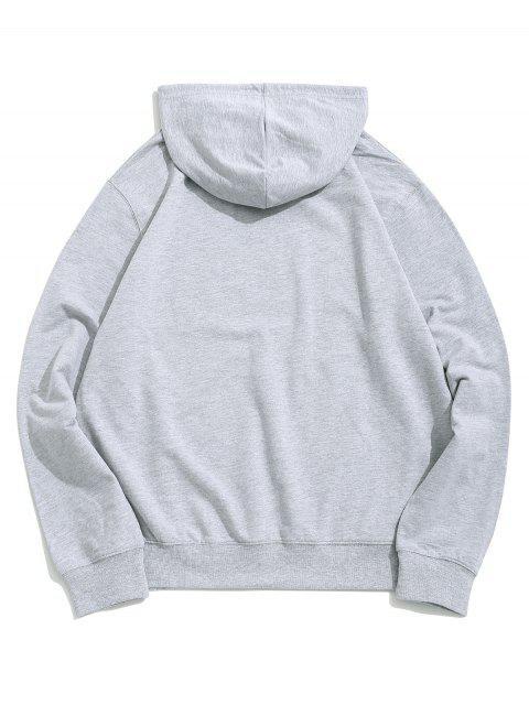 Buchstabe Grafik Lounge Känguru Taschen Hoodie - Grau L Mobile