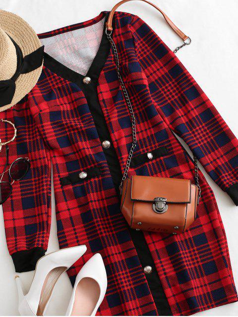 Robe Moulante à Carreaux Métallisée avec Boutons à Manches Longues - Rouge Cerise S Mobile