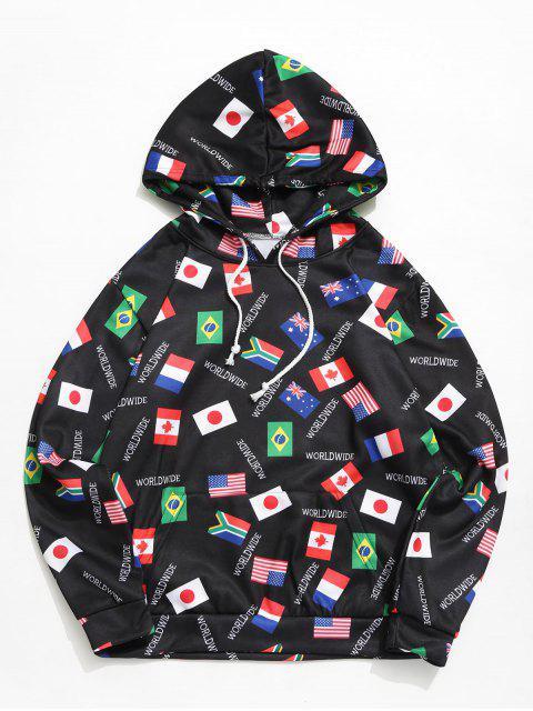 世界國旗打印囊袋狀抽繩連帽外套 - 黑色 M Mobile
