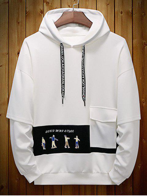 字母字符,打印口袋連帽衫 - 白色 4XL Mobile