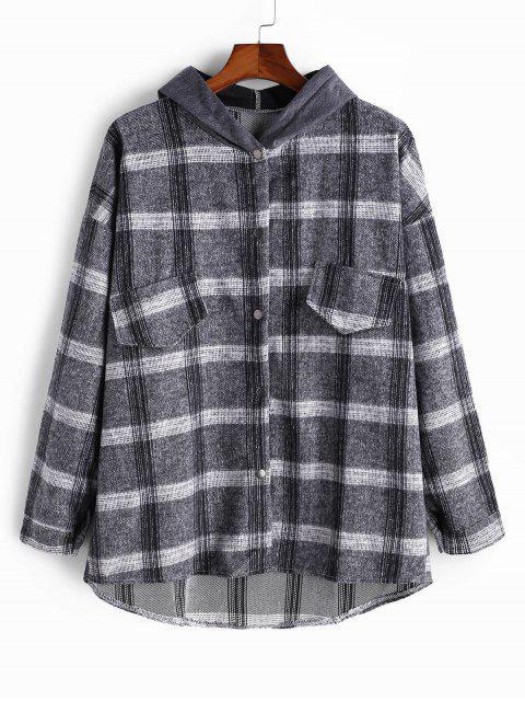 chic Faux Pocket Plaid High Low Colorblock Hood Shirt Jacket - GRAY L Mobile