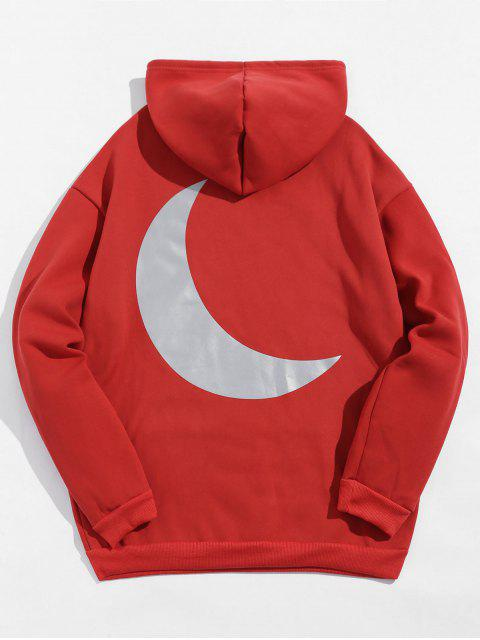 反光月打印抽繩抓絨帽衫 - 玫瑰紅 XL Mobile