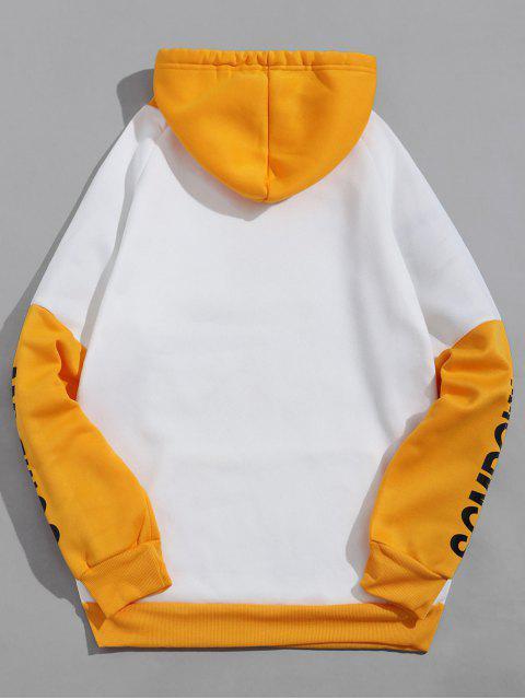 Colorblock面板信圖形休閒抓絨帽衫 - 白色 M Mobile