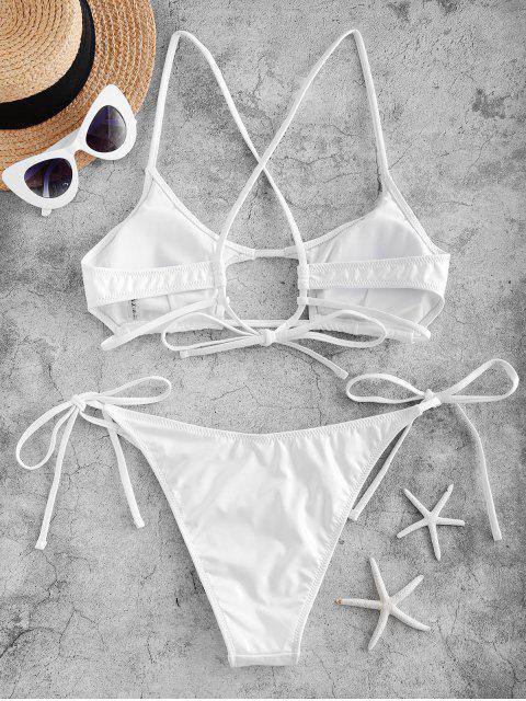 hot ZAFUL Cutout Patent Leather Solid Bikini Set - WHITE M Mobile
