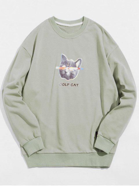 高爾夫貓信打印休閒運動衫 - 淺綠色 XL Mobile