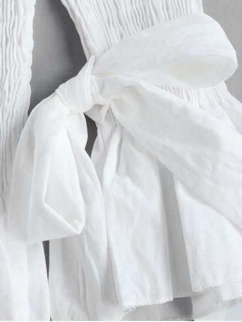 outfit Off Shoulder Smocked Tie Cuff Flare Sleeve Blouse - WHITE XL Mobile