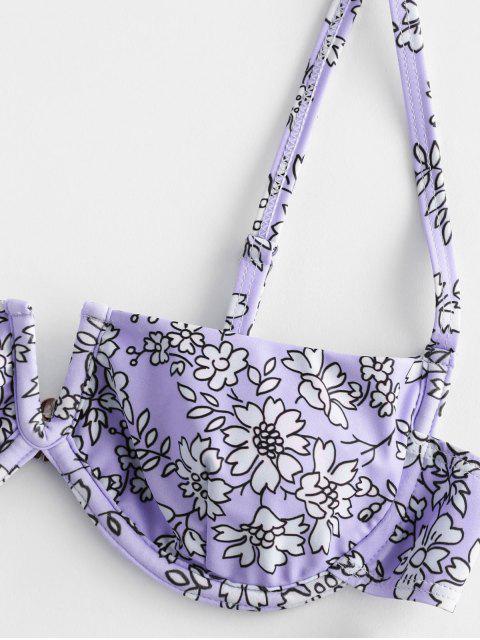 shop ZAFUL Flower V Wired High Leg Bikini Swimsuit - MAUVE S Mobile