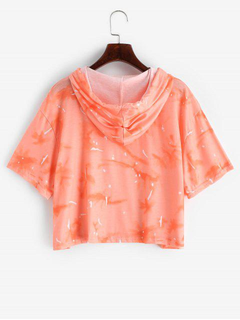 affordable Drawstring Hooded Tie Dye Printed Tee - ORANGE S Mobile