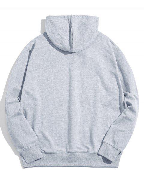 手相牽圖形前口袋休閒連帽衫 - 灰色 2XL Mobile
